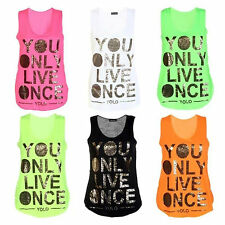 LADIES GOLD FOIL YOLO PRINT NEON TOP GIRLS YOU ONLY LIVE ONCE VEST TOP SIZE 8-14