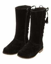 NWT Gymboree Girls RIGHT MEOW Black Velvet Lace Up Tall Boots Shoes sz 9 10 13