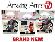 *NEW 2 Pack* Amazing Arms Womens Slimming Arm Sleeves (Black/Pearl) Med/Large/XL