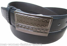 "New Mens Casual Dress Jeans Leather Black Belt 1 1/2"" Wide M L XL Fashion Buckle"