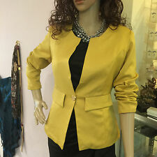 New Womens Color Blazer Jacket Suit Work Casual Basic Long Sleeve golden yellow