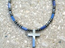 Men's Powerful Magnetic Hematite/Lapis CROSS NECKLACE - STRONG - Free Shipping