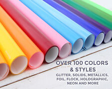 """HEAT TRANSFER VINYL BY THE YARD 20"""" WIDE EASY WEED 8 TYPES 130+ COLORS-THREADART"""