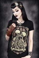 Restyle Gothic Clothing Immortal Lovers Ladies Black Skeleton T-Shirt, Goth Emo