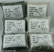 Country Oblong Cushion Embroidered with Assorted Mum Sentiments Novelty Gift