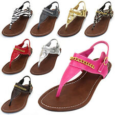 Womens Sandals Chain Link Thong Slingback Ankle Strap Summer Beach Ladies Shoes
