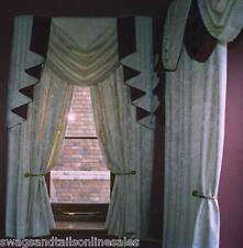 """SWAG AND TAILS + CURTAINS SETS, FITS WINDOWS 30 to 44"""" (76-112cm) Wide"""