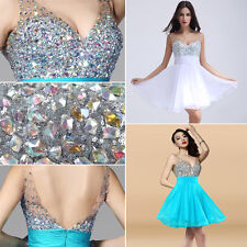 2015 NEW Short Beaded Pageant Gowns Bridesmaid Evening Party Formal Prom Dresses