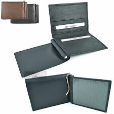 Quality Real Leather Credit Card size Money Clip Slip Wallet Holder Travel ID