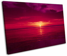 Red Sunset Beach Baja Mexico Framed Canvas Wall Art Picture Print