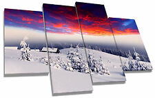The Alps Mountains Snow Sunset Canvas Wall Art Picture Multi 4 Panel Split
