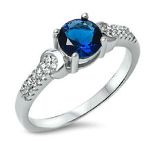 .925 Sterling Silver 6MM ROUND BLUE SAPHIRE CLEAR CZ ENGAGEMENT RING SIZES 5-10