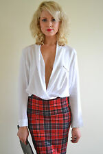 White deep plunging cowl front long sleeve sexy fashionista blouse shirt