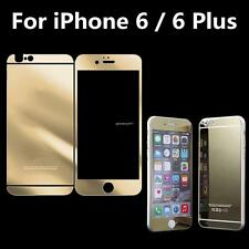 For iPhone 6 /6 Plus Gold Mirror Front Back Tempered Glass Screen Protector New