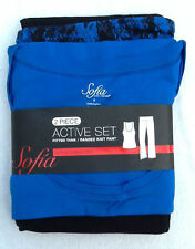 NWT Sofia Blue & Black 2 Piece Active Set Fitted Tank Top & Banded Pants