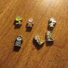 PEANUTS CHARLIE BROWN SNOOPY LINUS WOODSTOCK LUCY FLOATING CHARMS 4 YOUR LOCKET
