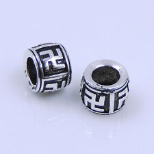 S925 Sterling Silver 7x5mm Vintage Mantra Buddhism Charm Bead Spacer WSP254