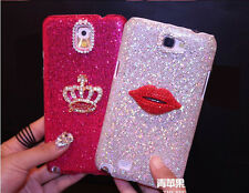 Crown Sexy Lips Bling Diamonds Glitter Case Cover For Samsung Galaxy Note 4 SZS