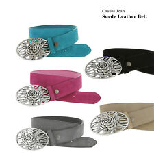 "Suede Belt With Flower Buckle 1-1/2"" Wide, Multi-Colors!"