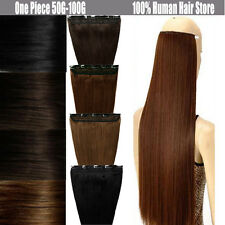 """Long Straight 16"""" 18"""" 20"""" 22"""" Clip In Remy Human Hair Extensions One Piece US U1"""