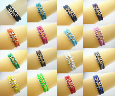 New Silver Tone Puzzle Autism Sign Charms Leather Braided Bracelet- Color Select
