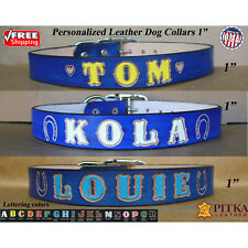 Dog Collar with Name - Blue Leather Dog Collar - Custom Collar for Large Dog