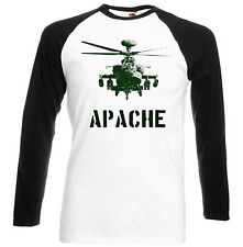 APACHE HELICOPTER INSPIRED - BLACK SLEEVED BASEBALL T-SHIRT S-M-L-XL-XXL