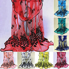 Hot Lady Fantastic Peacock Flower Embroidered Scarf Glamor Shawl Stole Pashmina