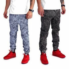 Acid Wash Denim Joggers  Craig Hip Hop NYC Drawstring Fashion Mens Pants