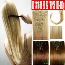 """Curly/Wavy/Straight 10 16 18"""" Clip In Remy Human Hair Extensions Full Head U156"""