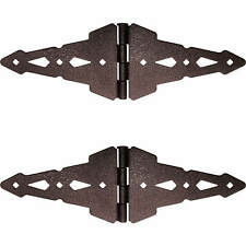 WOOD GATE HINGES SET: (2) Hinges - Hammered Bronze Wood Gate Hardware - Western