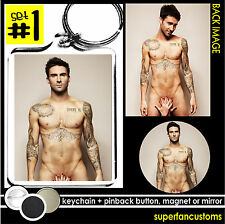 Adam Levine KEYCHAIN + BUTTON or MAGNET or MIRROR key ring maroon 5 nude #1040