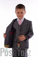 Baby Boys Suits Pageboy Formal ,Wedding 5pc Grey Suit Pink Tie (18-24mths-14yrs)