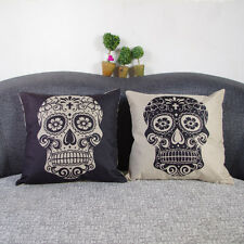 45cm*45cm Cotton Linen Flax Cushion Covers Pillow Case For Sofa Bed Skull