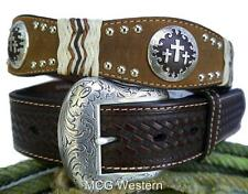 Nocona Western Mens Belt Leather Cross Concho Mocha N2504402