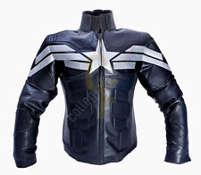 WINTER SOLDIER CAPITAN AMERICA UOMO NERO Chris Evan'S LEATHER JACKET