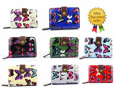 Quality Ladies Small Butterfly Print Oil Cloth women's short zip purse wallet