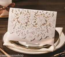 Personalised or DIY Pearl White Laser Cut Lace Effect Wedding Invitation Card ES