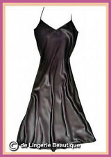 Long Black Satin Nightdress Negligee Nightie Nightgown Chemise size 12 - 22