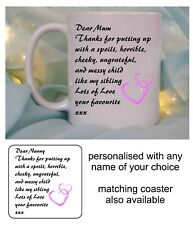 PERSONALISED THANK YOU MUG/COASTER MOTHERS DAY CHRISTMAS BIRTHDAY PRESENT GIFT