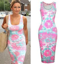 NEW WOMENS LADIES CELEBRITY NEON SPLASH PRINT BODYCON MIDI DRESS PLUS SIZE 8-22