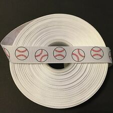 "7/8"" Baseball Grosgrain Ribbon by the Yard (USA SELLER!)"