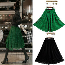 New Sexy Womens Lace Retro A-Line Skirt Pleated Midi Dress for Women clothing