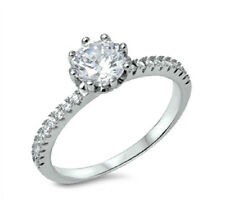 .925 STERLING SILVER 7MM SPARKLING HALF ETERNITY WITH ROUND CZ ENGAGEMENT RING