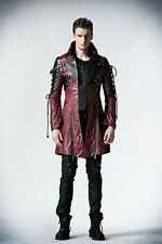 Punk Rave Poison Mens Faux Leather Black Red Goth Steampunk Military Coat Jacket