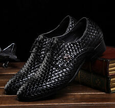 hot sale mens woven stylish pointed toe leather shoes lace up flat shoes size