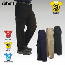 3X HEAVY 100% COTTON DRILL CARGO PANTS TROUSERS WORKWEAR