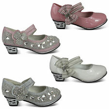 girls new kids glitter diamante detail party bridesmaid wedding shoes size uk8-3