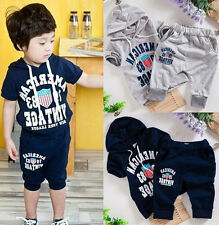 Hot Newest Summer Toddler Kids Sets Hooded+Pants Clothing T-shirt Outfit Suit