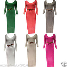 New Women Ladies Lace Mesh Belted Long Sleeve Summer Party Long Maxi Dress